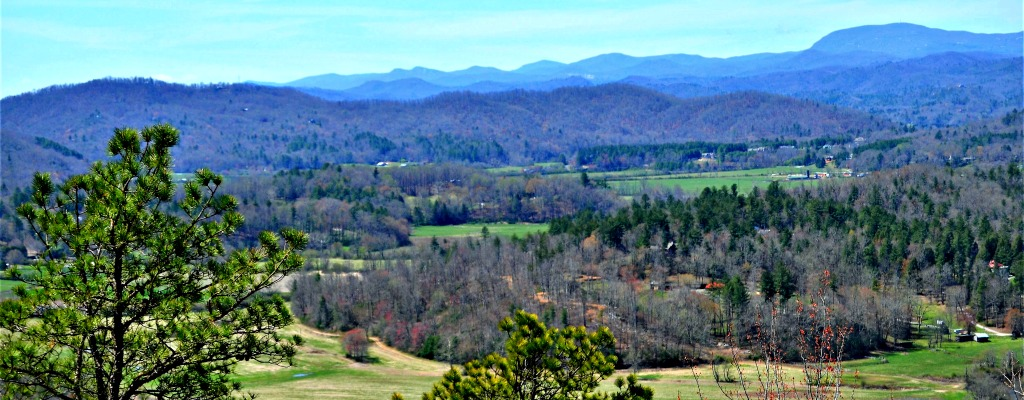 French Broad River valley waking from winter